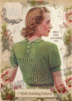 This is a beautiful pattern from 1938 for a lady's short or long sleeved lacy jumper with a petal-like turn down collar and moss stitch yoke. A row of simple double and triple crochet is worked around the collar and button loops are also crocheted. | eBay!