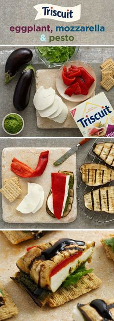 Eggplant, mozzarella & pesto, oh my! on each side, then brush one side of each slice with pesto. Top of the eggplant slices with cheese and roasted red peppe I Love Food, Good Food, Yummy Food, Tasty, Vegetarian Recipes, Cooking Recipes, Healthy Recipes, Healthy Snacks, Healthy Eating