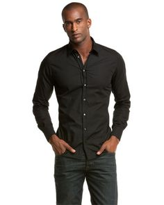 D Men's Black Dress Shirt w/jeans | Mens Dress Jean's for work ...