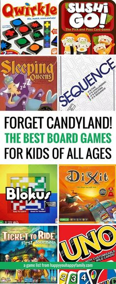 This is the best list of board games for kids that work for a wide range or ages, from preschoolers to teens and beyond. These card games and board games are so much fun that adults love them, too! Because life is too short for suffering through Candyland Board Games For Kids, Games For Teens, Adult Games, Activities For Kids, Best Family Board Games, Children Games, Best Games For Kids, Therapy Activities, Board Games For Preschoolers