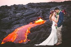 This Couple Took Wedding Photos by an Active Volcano ACTUALLY Spewing Lava in Hawaii