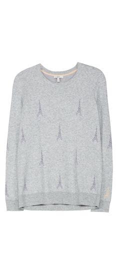 Joie Valera B Sweater Light Heather Grey with a subtle Eiffel Tower intarsia print.