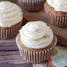 With a hint of cinnamon and a slightly sweet cream cheese frosting, these carrot cake cupcakes are a delicious dessert to serve for Easter.
