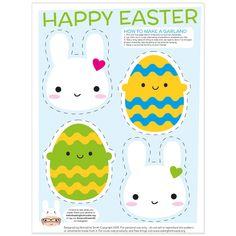Easter Bunny Garland Kawaii Printable – Asking For Trouble Easter Bunny Eggs, Cute Easter Bunny, Easter Food, Free Printable Banner, Free Printables, Kawaii Bunny, Easter Garland, Bunny Party, Kawaii Doodles