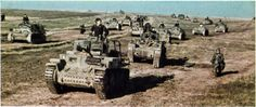 """tanks Panzerkampfwagen 38 (t) made Skoda Czechoslovakia and the German Panzerkampfwagen II crosses. They came from Panzer-Regiment 25 / 7.Panzer-Division which temporarily merged with tanks 6. Panzer-Division in units of """"Panzer Bigade Koll"""" led by the commander of Panzer-Regiment 11 / 6.Panzer-Division, Oberst Richard Koll in combat in October 1941.  Photo by Helmut Ritgen (last rank Oberst) 6. Panzer-Division"""