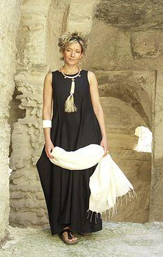 black linen dress with draped pockets