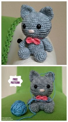 Crochet the kitten Amigurumi Free Pattern # . : Crochet the kitten Amigurumi Free Pattern Crochet Bows Free Pattern, Crochet Elephant Pattern, Crochet Gratis, Crochet Amigurumi Free Patterns, Crochet Animal Patterns, Cat Pattern, Cute Crochet, Crochet Dolls, Loom Patterns