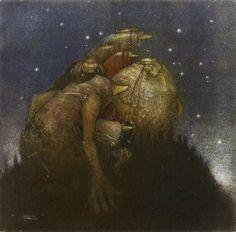 Trolls in Starlight art print - by Swedish artist John Bauer