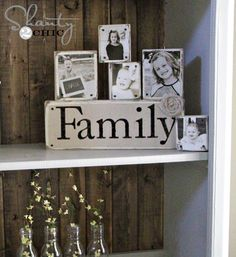 Love pictures on wood blocks.  These nail-heads are the perfect rustic touch. Want to make these and randomly place around the house in groups, with pictures throughout the years.
