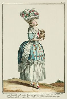 """""""Young Lady in a Polonaise of indienne, trimmed with gauze, and coiffed with an English hat trimmed with flowers and a black lace. She holds a bichon under her arm. (1778)"""""""