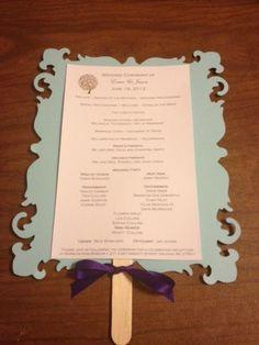 Wedding program on fan for outside summer wedding