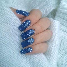 Blue nails ideas, Bow nails, Everyday nails, Graduation nails, Interesting nails, Long nails, Polka dot nails, Simple nail art