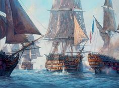 """'Victory' breaks the enemy line, Trafalgar 21st October 1805,"" by Geoff Hunt."