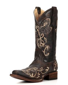 The Brown/Bone Distressed Dragonfly Boot from Circle G by Corral is crafted from rich brown distressed leather. A unique dragonfly is stitched on the shaft in rich bone embroidery.  Circle G boots boots are made with western fashion details, quality leathers, and fine craftsmanship. Corral boots are handcrafted and hand-finished by the the most experienced boot makers in the world, so each boot is one of a kind! Due to the nature of working with natural and exotic leathers, each pair of…