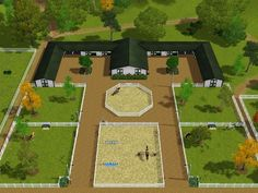 horse stable design Products is part of Horse Stable Design For Safety And Comfort - amazing stable setup Just smaller, more fields, dressage ring instead of a round pen and a XC course some where out there ) Horse Farm Layout, Barn Layout, Dream Stables, Dream Barn, Horse Barn Plans, Horse Arena, Horse Farms, Sims 3, Minecraft Horse Stables