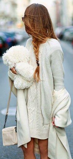 #spring #fashion   White Knit Layers   Maffashion