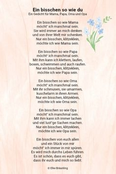 Ein bisschen so wie du * Elkes Kindergeschichten Elke Braunling. A little like you. A little like you. A poem for mom, dad, grandma and grandpa. Sometimes I want to be a bit like mom. Mom Poems, Diy Gifts For Mom, Grandma And Grandpa, Mamas And Papas, Her World, Boyfriend Gifts, Fathers Day Gifts, Parenting, Elke Bräunling