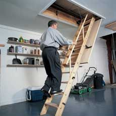 Step by step instructions for a pull-down attic stairs