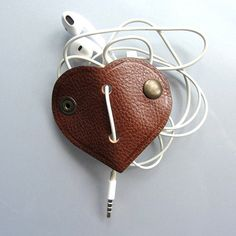 Leather earbud / earphone / cable organizer in by RinartsAtelier, €7.50