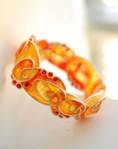 Sterling Silver Spiral Bracelet Bangle, Artisan Paper Jewelry, Orange Red and Yellow, Abstract Desert...