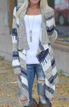 Cardigan Stylish Long Sleeve Knitted Irregular Loose-Fitting Cardigan For Women Rose Sweaters Cardigans Striped Cardigan, Long Cardigan, Knit Cardigan, Cardigan Sweaters, Loose Sweater, Long Sweaters, White Sweaters, Cheap Sweaters, Sweater Coats