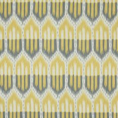 Bukhara Ikat | 176081 in Citrine & Smoke | Schumacher Fabric |  Graphic and sensual, this midsize tribal pattern is highly versatile. A cotton sateen weave makes this fabric dressier than typical ikats and suitable for upholstery and curtains.