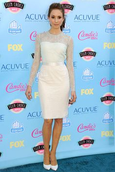 Troian Bellisario at the Teen Choice Awards in an Elisabetta Franchi dress, Casadei shoes with jewelry by Melinda Maria, Kami Lerner and ELAHN and a Foley + Corinna clutch.