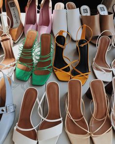 Today the sun was shining in just right on all of these perfect sandals and it *almost* felt like summer ☀️🤤🍦 Cute Shoes, Me Too Shoes, High Heels, Shoes Heels, Strappy Sandals Outfit, Green Sandals, White Sandals, Suede Sandals, Strappy Heels