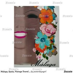 Malaga, Espagne, affiche vintage de voyage