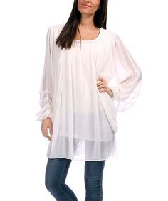 Another great find on #zulily! White Semi-Sheer Long-Sleeve Tunic - Plus #zulilyfinds