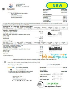 USA Chelan County PUD utility bill template in Word format