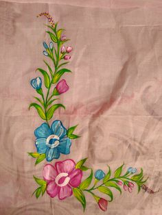 Blue pink flower painting   Free hand painting