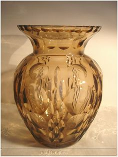 Art Deco geometrically cut glass vase by Haida, c. 1920