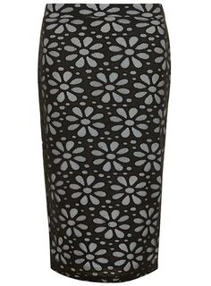 Black and Blue Daisy Tube Skirt