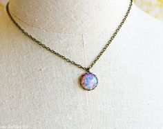 Pink Fire Opal Glass Pendant Necklace- Vintage 15mm Round Opal