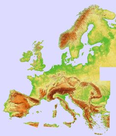 Composite Topographic Hillshade Map of Europe (Europe)