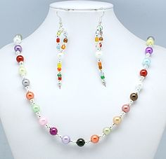 Colorful Glass Pearl Jewelry Sets, Necklaces and Earrings