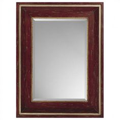 Paragon Rectangle Distressed Red and Gold Mirror - 8718