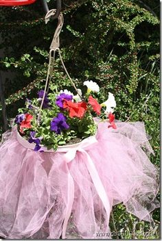 Dance Teacher Thank You gift, Tutu Hanging Flower Basket
