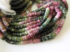 5 Strands Wholesale Natural Tourmaline Smooth Tyre Rondelle Beads, Pink…