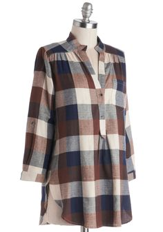 Bonfire Stories Tunic in Brown Plaid. Your pals huddle around you, fascinated and filled with suspense as you orate beside the crackling fire in this rust, ivory, and navy-blue plaid top. #brown #modcloth