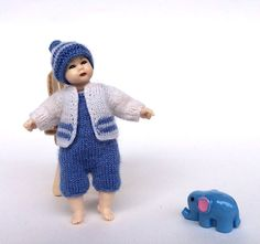 Heidi Ott toddler doll clothes, blue and white boy outfit - miniature hat with pompon, jacket and trousers with straps by AnnaToys on Etsy