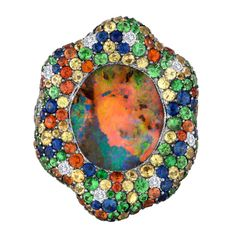 Australian Black Opal Gold Ring | From a unique collection of vintage fashion rings at https://www.1stdibs.com/jewelry/rings/fashion-rings/