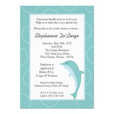 5x7 Tropical Ocean Dolphin Baby Shower Invitation Invitation