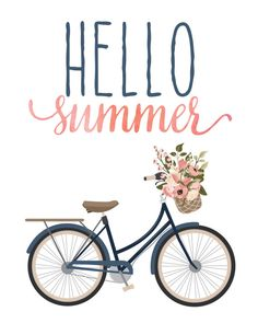 Hello Summer Print / Floral Bicycle Print / by MadKittyMedia