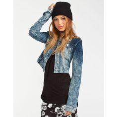Almost Famous Womens Knit Denim Jacket