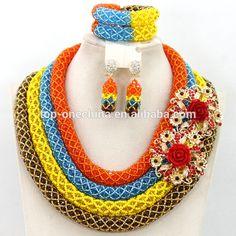 African Nigeria Wedding mutiple Beads Necklaces Bracelet fashion Beads Jewelry Set