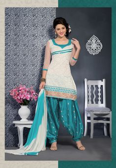 white with sky blue brasso #designer #partywear #punjabisuits comes with sky blue and white shades dupatta.