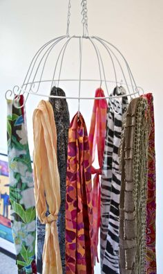 creative ideas for scarf display rack, scarf storage ideas, scarf display organizer, how to display scarves in different ways including DIY scarf storage, functional DIY hangers Craft Show Displays, Craft Show Ideas, Display Ideas, Booth Displays, Market Displays, Retail Displays, Jewelry Displays, Merchandising Displays, Booth Ideas