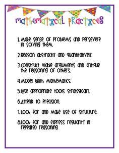 8 Mathematical Practice Poster Classroom Set -- Math Practice ...
